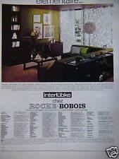 PUBLICITÉ 1970 MEUBLES ROCHE BOBOIS INTERLÜBKE ÉLÉMENTAIRE - ADVERTISING