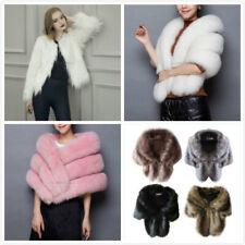 Winter Women Faux Fur Coat Cloak Jacket Ladies Warm Shawl Stole Wrap Shrug Scarf