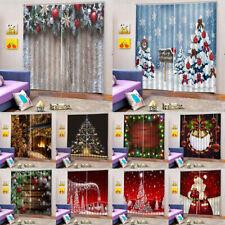 2Pcs Christmas Polyester Window Curtains Bedroom Living Room Bathroom Drapes