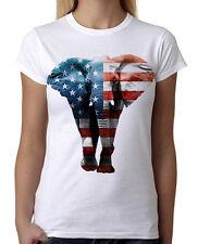 Junior's American Elephant White T-Shirt USA Flag July 4 America Tee Beast B746