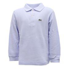 4279R polo bimbo LACOSTE EAU manica lunga azzurra long sleeve t-shirt kids