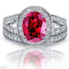 Rubí Rojo Ovalado Halo Imitación Diamantes Compromiso Anillo Plata de Ley Set