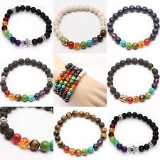 Mens Womens 7 Stone Chakra Healing Reiki Prayer Bead Bracelet For Gift New