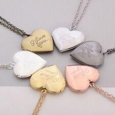 Necklace Heart Locket Pendant Vintage Gift Lover Couples Custom Message Carved