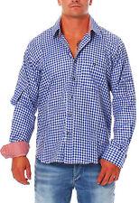 Herren Trachten Hemd Oberhemd Engelleiter blau weiß kariert Trachtenhemd