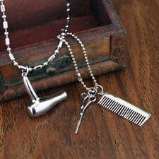 Unisex Hair Dryer Scissors Comb Pendant Chain Necklace Barber Kit Gift Charm