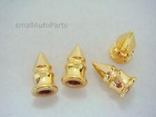 4) Yellow Gold Spike Tire/Wheel Stem Air Valve CAPS covers car truck hot rod ATV