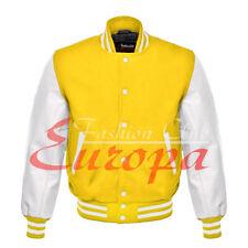American Unisex White Real Leather Sleeves Letterman College Varsity Wool Jacket