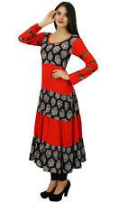 Bimba Womens Long Red Dress Flaired Designer Anarkali Kurta Kurti Indian Custom