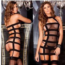 Completo Costume Reggicalze Seno Velato Mistress Aderente Bondage BDSM Perizoma