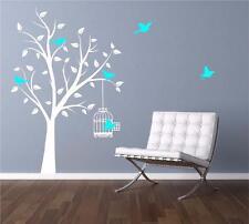 Oiseau Arbre Cage Feuilles Décalcomanie Art Mural Autocollant Décalco Transfert