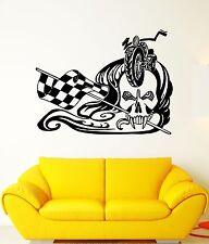 Wall Decal Biker Skull Bike Race Rocker Freedom Finish Vinyl Stickers (ed031)