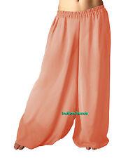 Coral Chiffon Harem Yoga Pant Belly Dance Pantaloons Baggy Aladdin Halloween