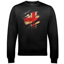 Torn UK Flag Sweatshirt Funny country British retro fashion cool sport pride