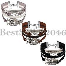 Men Women Infinity Owl Love Friendship Leather Charm Bracelet Inspirational Cuff