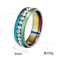 Sz6-13 Men/Women CZ Couple Stainless Steel Wedding Ring Titanium Engagement Band
