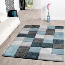 Teppich Wohnzimmer Modern Karo Muster Mit Konturenschnitt In Türkis Grau  Blau