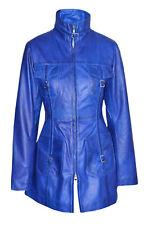 LASVEGAS Blu Signore Donne Vintage Morbido Lavato Morbido in Pelle Giacca Trench Cappotto