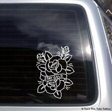 Stay Gold Tattoo Rose Vinyl Decal flower design Turn The Tide car sticker T002