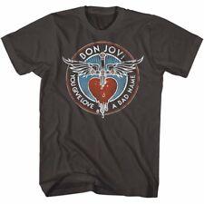 Mens Licensed Bon Jovi New T-Shirt YOU GIVE LOVE A BAD NAME SMOKE Sizes SM - 2XL