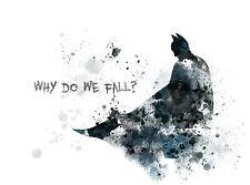 ART PRINT BATMAN preventivo illustrazione, perché cadiamo, Supereroe, Wall Art