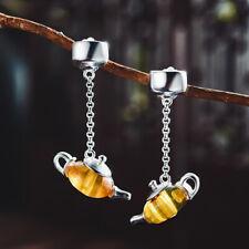 Natürliche Bernstein Edelstein Teekanne Ohrringe 925 Sterling Silber Schmuck