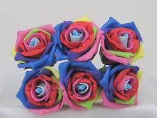 6cm Artificial Foam Roses Colourfast Harlequin/Rainbow wedding Flowers