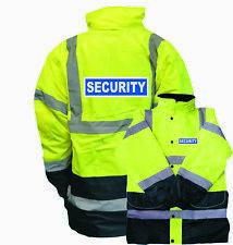 YELLOW NAVY REFLECTIVE SECURITY HI VIS PARKA JACKET, WORKWEAR, HI VIZ, GUARD
