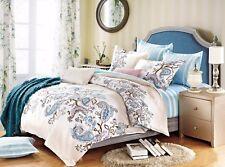 All Size Bed Quilt Duvet Cover Set 100% Cotton Super King Bedding - Blue Paisley