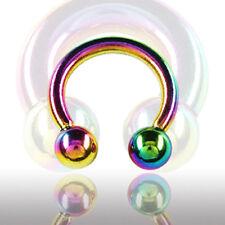 2,5mm Regenbogen Hufeisen Circular Barbell Nase Ohr Septum Intim Piercing