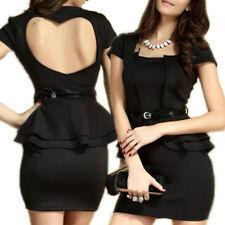 Abito donna peplo vestito peplum elegante vestitino nero party miniabito