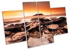 Sunset Beach Surf rocas LONA pared arte Marco de Caja de impresión de panel de múltiples