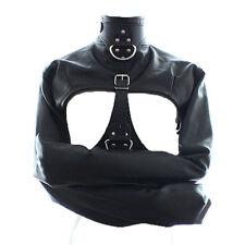 Women PU Leather Bondage Body Harness Cupless Straight Jacket Restraint Costume