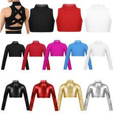 Girls Crop Tops Kid Dance Tank Top Gymnastics Sport High Turtleneck Shirt Blouse