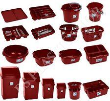 Plastic Swing Bin Bucket Basket Bowl Drainer Tray Tidy Chilli Red Kitchen Set