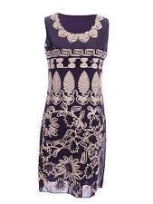 Womens Art Deco Gatsby Sequin Flower Leaves Sleeveless Cocktail Wedding Dress