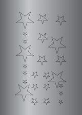 Planche de stickers ETOILES - Papier adhésif adhésive autocollant argent satiné