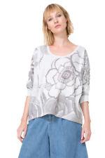 Desigual Grey Loose Cut 3/4 Sleeve Flower Design Lali Top S-L UK 10-14 RRP�54