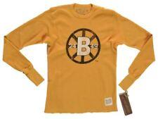 Boston Bruins Retro Brand Gold Waffle Style Long Sleeve Cotton T-Shirt