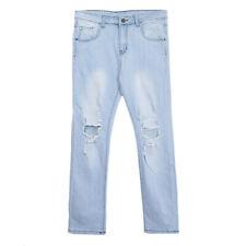 Men's Ripped Denim Straight Jeans Destroyed Frayed Slim Fit Jogging Pants