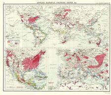 Old World Map - World Apples, Bananas, Oranges, Dates - Newnes 1907 - 23x26