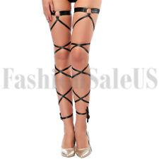 Women Lady High Leg Wraps Strap Stretchy Dance Rave Club Wear Garter with Ribbon
