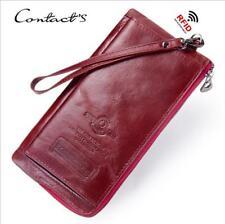 Women Long Genuine Leather Cowhide Wallet Leisure RFID Credit Card Holder Purse