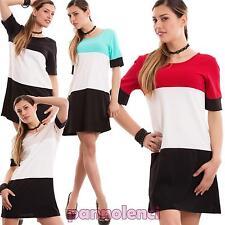 Vestito donna miniabito maximaglia righe maniche corte abito nuovo CC-1363