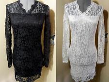 Nwt ALL LACE Dress Scallop V neck Stretch M L XL Black White Bodycon HOT Classic