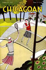 Chicago Illinois 1927 Girls Ladies Playing tennis Vintage Poster Repro FREE SH