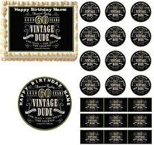 Vintage Dude 60th Milestone Edible Cake Topper Image Cake Decoration Cupcakes