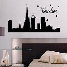 Barcelona Skyline Decal Vinyl Wall Sticker Art World Country Silhouette
