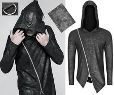 Haut capuche hoodie gothique punk asymétrique zippé bandes anneau PunkRave Homme