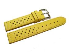 Bracelet de montre - cuir de veau perforé - surpiqué - jaune 16,18,20,22 mm NEUF